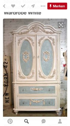Antiques Forceful Shabby Chic French Glass Armoire/cabinet
