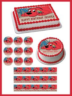 Clifford The Big Red Dog Edible Birthday Cake Topper OR Cupcake Topper, Decor #BirthdayChild