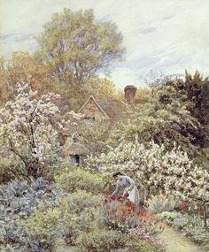 A Garden in Spring  Helen Allingham