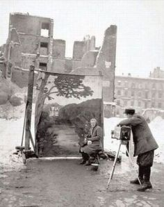 warsaw 1946. In the old days, if Hitler sacked your country, you put a damn smile on your face and posed in front of picture of the Poland you remembered. Good for them.