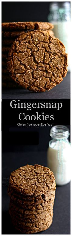 Gluten Free Gingersnap Cookies (Vegan egg free dairy free) Chewy, crisp and soft gingersnap with just enough spice and is Vegan and Egg Free.  PetiteAllergyTreats