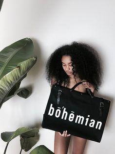 The Bohemian Travel Bag - Noir – Souk Bohemian The Glow Up, Black Canvas, Leather Handle, Black Girls, Travel Bags, Canvas Fabric, Shoulder Strap, Black Leather, Bohemian
