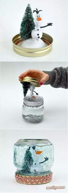 Diy snow globe. Glue things to the lid.  Fill mason jar with water and glitter. Put lid on and secure tightly. Mivht be my xmas project this year.