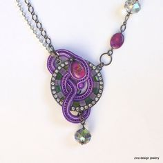 Purple Necklace Soutache Necklace Soutache by ZinaDesignJewelry