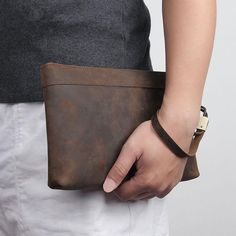 Dark Brown Leather Mens 8 inches Envelope Bag Wristlet Wallet Bag Zipper Clutch Wallet For Men Brown Leather Wallet, Dark Brown Leather, Cow Leather, Rfid Wallet, Wristlet Wallet, Wallet With Coin Pocket, Long Wallet, Handbags For Men, Small Shoulder Bag
