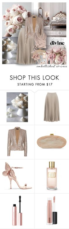 """""""Magic Slippers: Embellished Shoes"""" by dezaval ❤ liked on Polyvore featuring Warehouse, Elie Saab, Edie Parker, Sophia Webster, Estée Lauder, Too Faced Cosmetics, MAC Cosmetics and John Galliano"""
