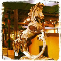 A corrugated cardboard horse at the Louisiana Children's Museum.