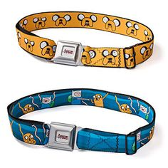 ThinkGeek :: Adventure Time Belts - my skinny grandsons have a way to go before these belts would fit (They fit waists from 26.5 to 46 inches.) but the boys would love them! Now my brain is working on ways to make smaller belts . . . need AT fabric  that cool seat belt buckle.