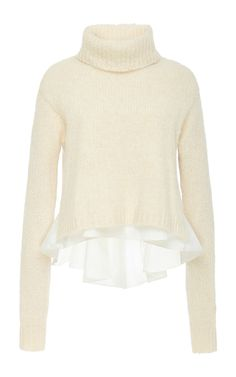 Ivory Wool Alpaca Blend Layered Turtleneck  by Tibi Now Available on Moda Operandi
