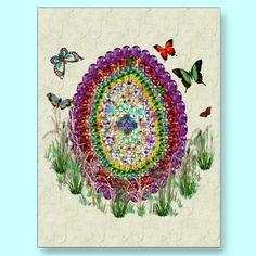 A rainbow of jewel designs in the shape of an egg with butterflies make this a very pretty way to celebrate Easter, Spring, or any day that calls for unique and colorful.