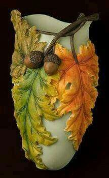 Beautiful Fall Leaves Wall Vase/Wall Pocket made from bonded marble and hand painted in great detail.
