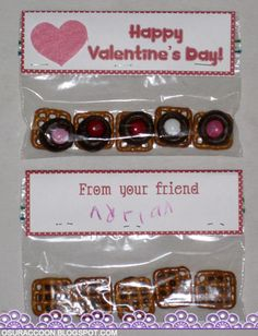 Homemade Valentines with Pretzel Treats - I helped my son make these for his kindergarten class