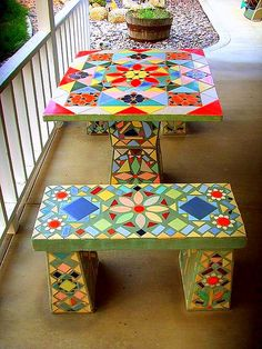 Vintage Mosaic Tiled Patio Table | by stars4esther