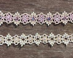 Tatting lace bracelet pdf pattern (Victorian Romance)