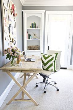 Now this is a stylish office:  http://www.stylemepretty.com/living/2014/02/05/san-clemente-home-tour-with-shea-mcgee/ Photography: Brooke Palmer - http://www.brookepalmerimage.com/