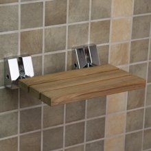 fold down teak shower bench w/ chrome brackets