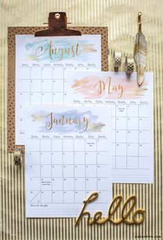 2016 Free Printable Month by Month Calendar