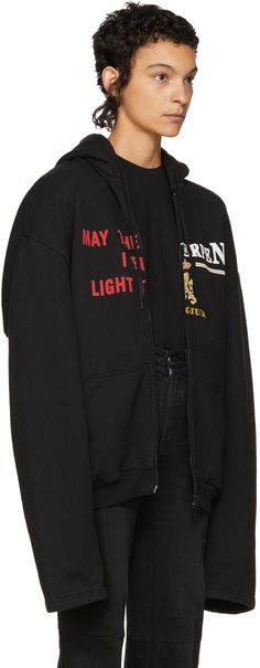Vetements - Black 'May The / Antwerp' Zip Hoodie Antwerp, Hoodies, Sweatshirts, Zip Hoodie, Clothing, Sweaters, Jackets, Stuff To Buy, Shopping
