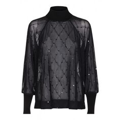 FUJI SEQUINS MESH BLOUSE