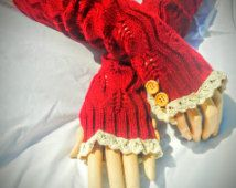 Red wool blend knitted Arm Warmers- Crochet Lace Trimmed Fingerless Gloves, Accessories, Gloves
