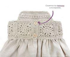 Vestido Granny Squares de Bebé combinado con Tela, Granny Squares Baby Dress combined with Fabric, Crochet Toddler, Crochet Girls, Crochet For Kids, Crochet Baby, Free Crochet, Baby Knitting Patterns, Baby Patterns, Skirt Patterns, Crochet Baby Dresses