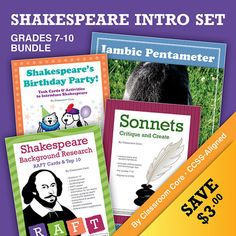 "Save 3 dollars when you purchase all of our introductory Shakespeare products together! This bundle includes our ""Shakespeare's Birthday Party"" task cards and activities, colorful RAFT research cards, sonnets lesson plan, and iambic pentameter poster. 2 weeks of material! Grades 7-10. CCSS-Aligned. $"
