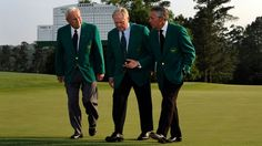 Masters Champions Arnold Palmer, Jack Nicklaus and Gary Player walk up No. 18 before the 2012 Champions Dinner.