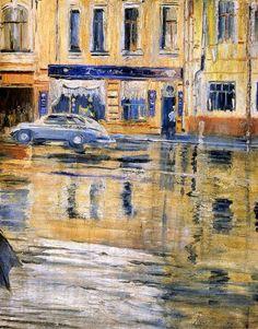 Юрий Пименов. Проливной дождь, 1957.   Галерея работ Пименова - в Артхиве.