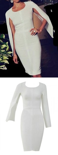 White Split Sleeve Plain Bodycon Dress