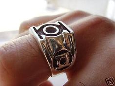 Solid Silver 925 GREEN LANTERN Ring All Size