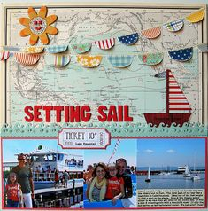 Setting Sail scrapbook layout - love the map and bunting. Cruise Scrapbook Pages, Vacation Scrapbook, Scrapbook Page Layouts, Scrapbook Paper Crafts, Scrapbook Cards, Scrapbook Photos, Scrapbooking Ideas, Kids Scrapbook, Mini Albums