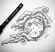 art, clouds, and drawing image Cool Art Drawings, Pencil Art Drawings, Art Drawings Sketches, Tattoo Drawings, Body Art Tattoos, Sleeve Tattoos, Cloud Tattoos, Black Tattoos, Nose Drawing