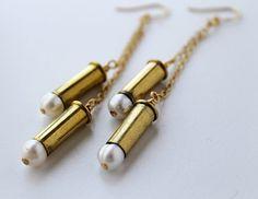 Brass Bullet Case Earrings with Pearls