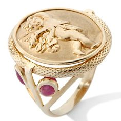 "Tagliamonte Venetian Cameo ""Cupid"" 14K Ruby Ring at HSN.com."