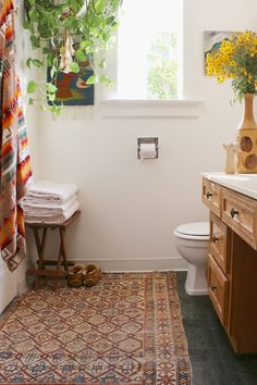 Wood, Awesome Rugs And Plants In Bathrooms