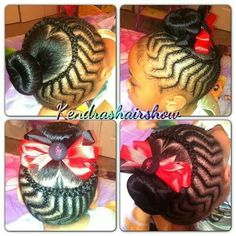 Unique Cornrow Design with a Bun/ bow Pretty Cornrow style African American natural protective nature styles for girls teens kids
