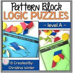 This set of interactive pattern block logic puzzles will have kids begging for more! Easy to use, these brain teasers are a great math center that will keep kids engaged while improving your students' skills needed to solve logic tasks as well as developing their