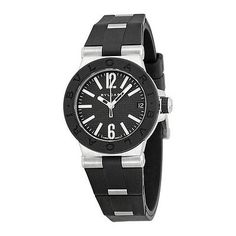 Bvlgari Diagono Quartz Black Dial Black Rubber Ladies Watch 101607