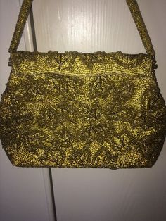 Vintage 50's era gold beaded handbag, classic evening bag #EveningBag #LittleBlackDress