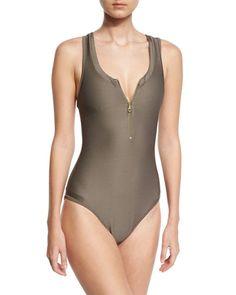 HEIDI KLEIN Huntington Beach Zip-Front One-Piece Swimsuit, Gray. #heidiklein #cloth #
