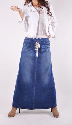 Cute Date Long Denim Skirt