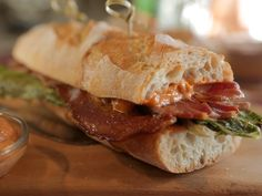 Bourbon BLT Baguette recipe from Damaris Phillips via Food Network (leave out the bourbon in aioli?)