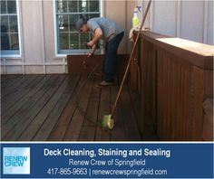 http://renewcrewspringfield.com/deck-cleaning-staining-sealing/ – After cleaning, a Renew Crew of Springfield technician applies a stain and sealant to protect the wood deck from the elements. Deck stains are available in many colors. We serve Springfield MO plus Greene, Christian, Webster, Polk and Dallas Counties. Free estimates.