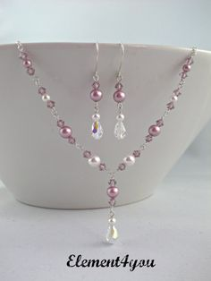 (Lavender) Pearl & Crystal Bridesmaid Jewelry Set by Element4you 42.00