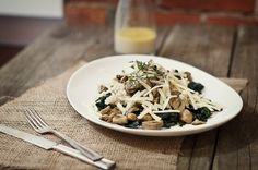 Comforting winter salad of barley, kale, mushrooms and Gruyere cheese. Served with a light and healthy Meyer lemon and buttermilk dressing.