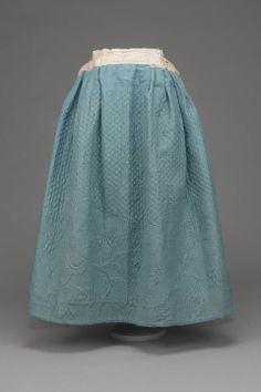 Woman's Petticoat  American, 1750s  United States  DIMENSIONS  99 x 86.4 cm (39 x 34 in.)  MEDIUM OR TECHNIQUE  Quilted silk, cotton twill, and glazed wool  CLASSIFICATION  Costumes  ACCESSION NUMBER  47.1022    MFA Boston