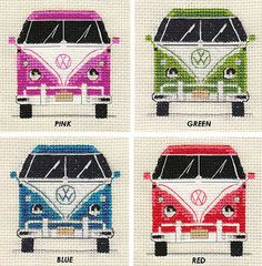 VW CAMPER VAN ~ Choice of 4 COLOURS ~ Full counted cross stitch kit, Retro in Collectables, Transportation, Trucks/ Lorries/ Vans | eBay