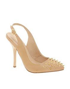 KG Culprit Leather Beige Studded Slingback Court Shoes