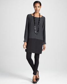 Silk+Colorblock+Tunic+&+Viscose+Jersey+Leggings,+Women\'s+++by+Eileen+Fisher+at+Neiman+Marcus.