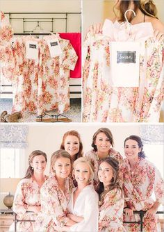 White Floral Posy Robes for bridesmaids | Getting Ready Bridal Robes - Robes by silkandmore